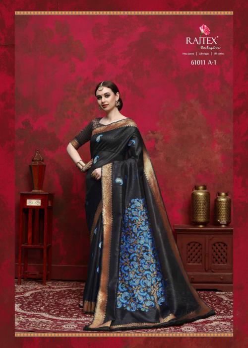 Rajtex Saree Kalika Silk 61011 A - Black Colors