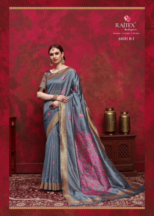 Rajtex Saree Kalika Silk 61011 B - Grey Colors