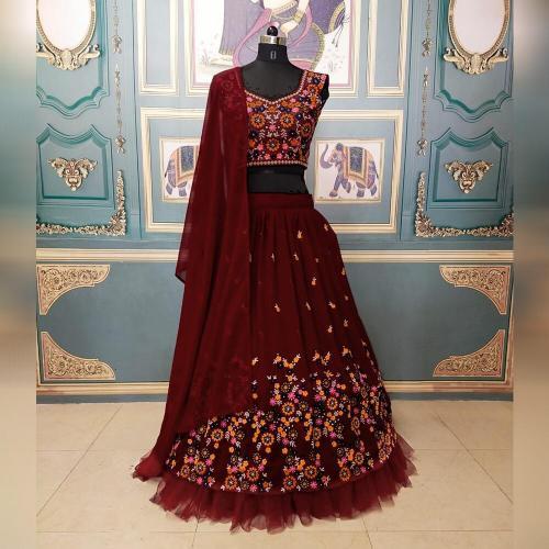 Bollywood Maroon Eklavya Designer Lehenga  Price - 2000