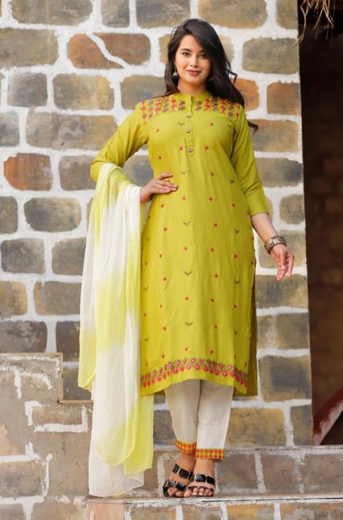 Non Catalog Jaipuri Designer Kurtis With Pant Light Green  Price - 675
