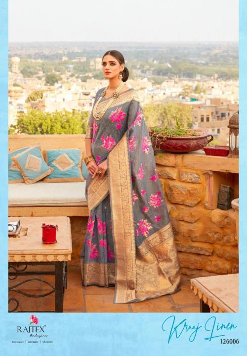 Rajtex Saree Kraj Linen 126006 Price - 1460