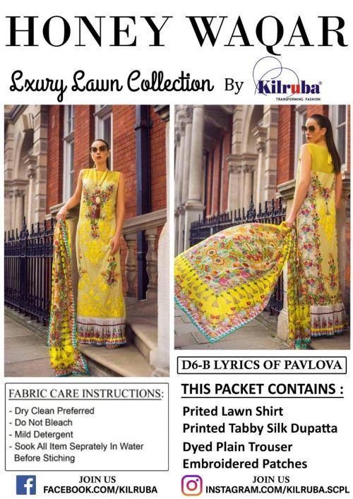 Kilruba Honey Waqar Luxury Lawn Collection D6-D10 Series