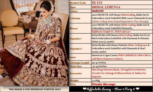 Deepjyothi Creations Bridal Lehenga DJ-133 Price - 4799