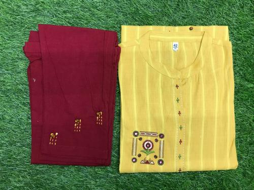 Non Catalog Hand Work Stylish Kurti With Pant Yellow  Price - 650