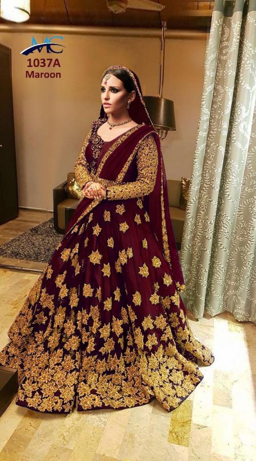 MC 1037 Colors Kerala Silk Heavy Embroidered Wedding Lehenga
