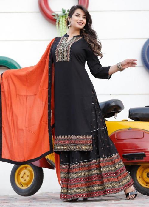 Non Catalog Jaipuri Cotton Gharara Kurtis With Dupatta