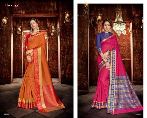 Lifestyle Saree Khadi Silk 55883-55884 Price - 1196