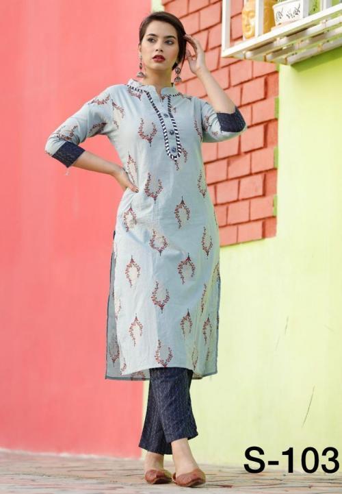 Non Catalog Jaipuri Cotton Kurtis With Pant