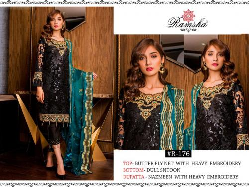 Ramsha 176 Black Net Designer Dress