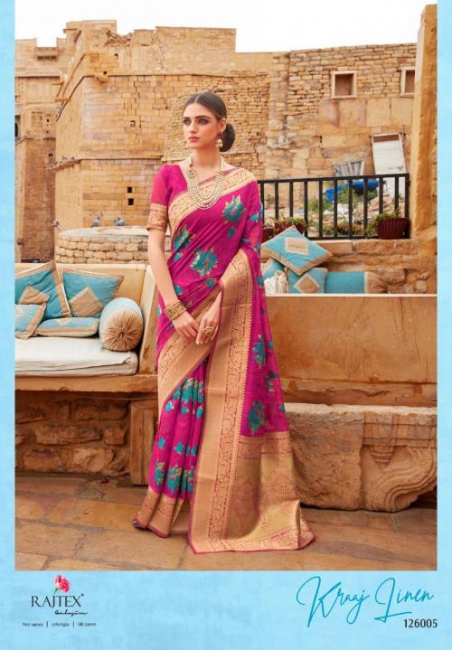 Rajtex Saree Kraj Linen 126005 Price - 1460