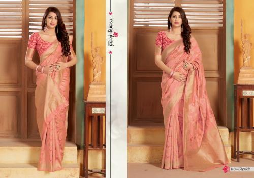 Manjuba Saree 1104-Peach Price - 1795