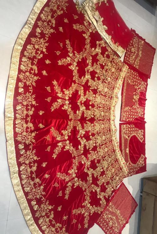 MC 1079 Love Red Velvet Designer Wedding Lehenga Choli Price - 3550