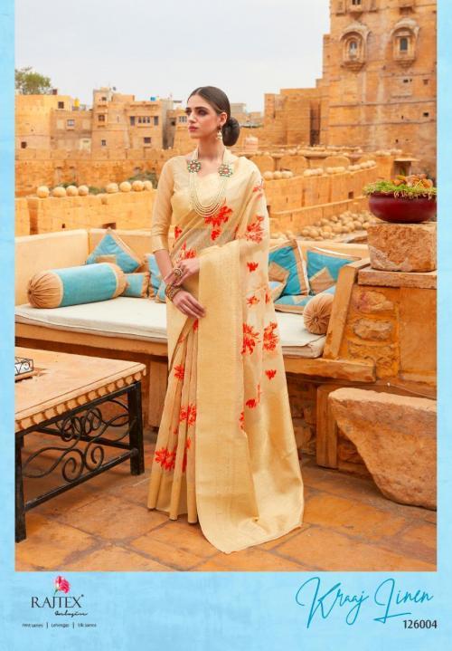 Rajtex Saree Kraj Linen 126004 Price - 1460