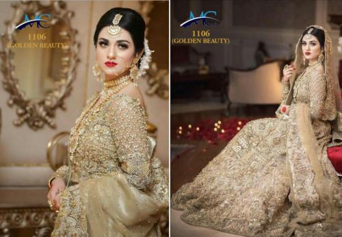 MC 1106 Golden Beauty White Heavy Bridal Lehenga Choli