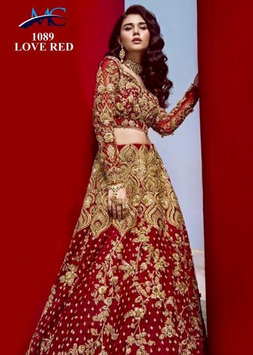 MC 1089 Bridal Designer Love Red Lehenga