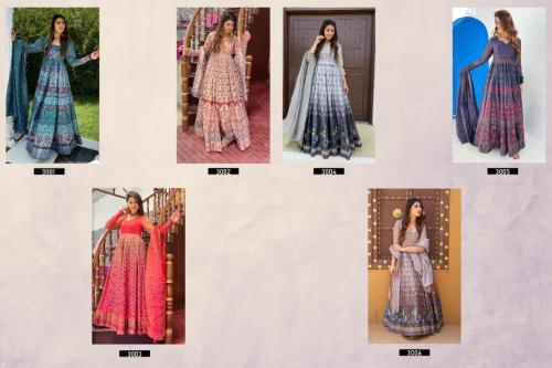 Alfaaz Vol-3 Designer Gown 3001-3006 Price - 8394