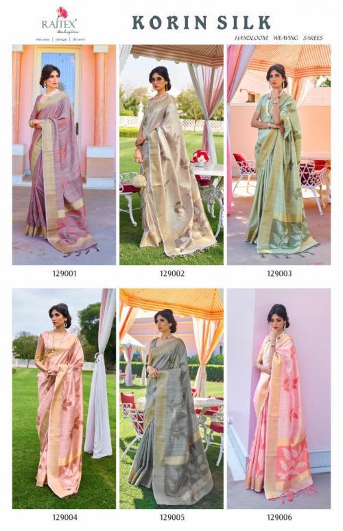 Rajtex Saree Korlin Silk 129001-129006 Price - Full Set-6270