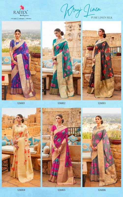 Rajtex Saree Kraj Linen 126001-126006 Price - 8760