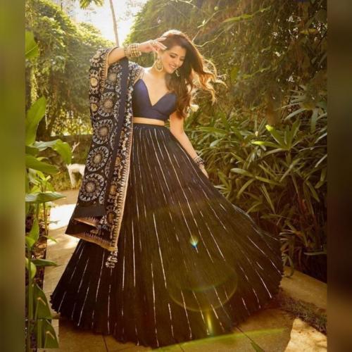 Bollywood Blue Oxford Designer Lehenga Choli 101 Price - 1450