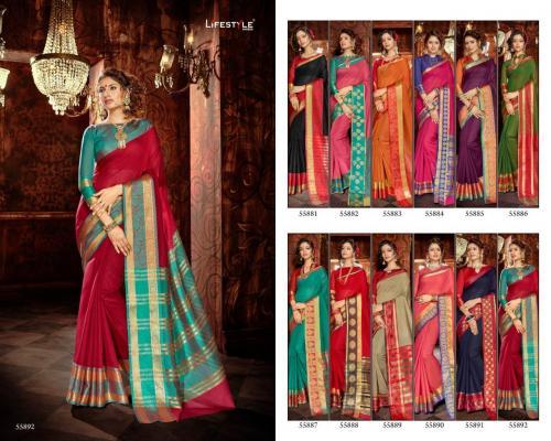 Lifestyle Saree Khadi Silk 55881-55892 Price - 7176