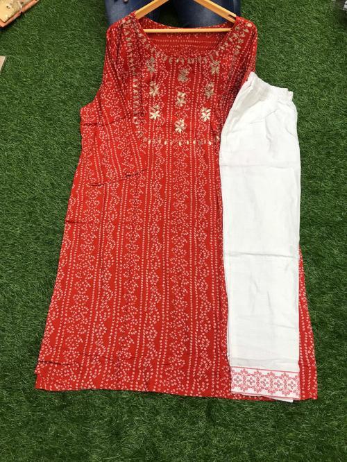 Non Catalog Jaipuri Bandhani Print Kurti With Pent Red  Price - 699